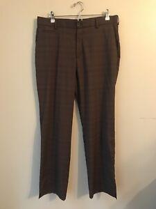 70874300 Details about Nike Golf Dri Fit Golf Brown Plaid Pants Men Size 34x32  Windowpane Pattern