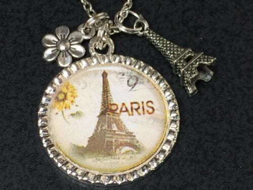 """Sunflower in Paris with Charms Charm Tibetan Silver 18/"""" Necklace B2"""