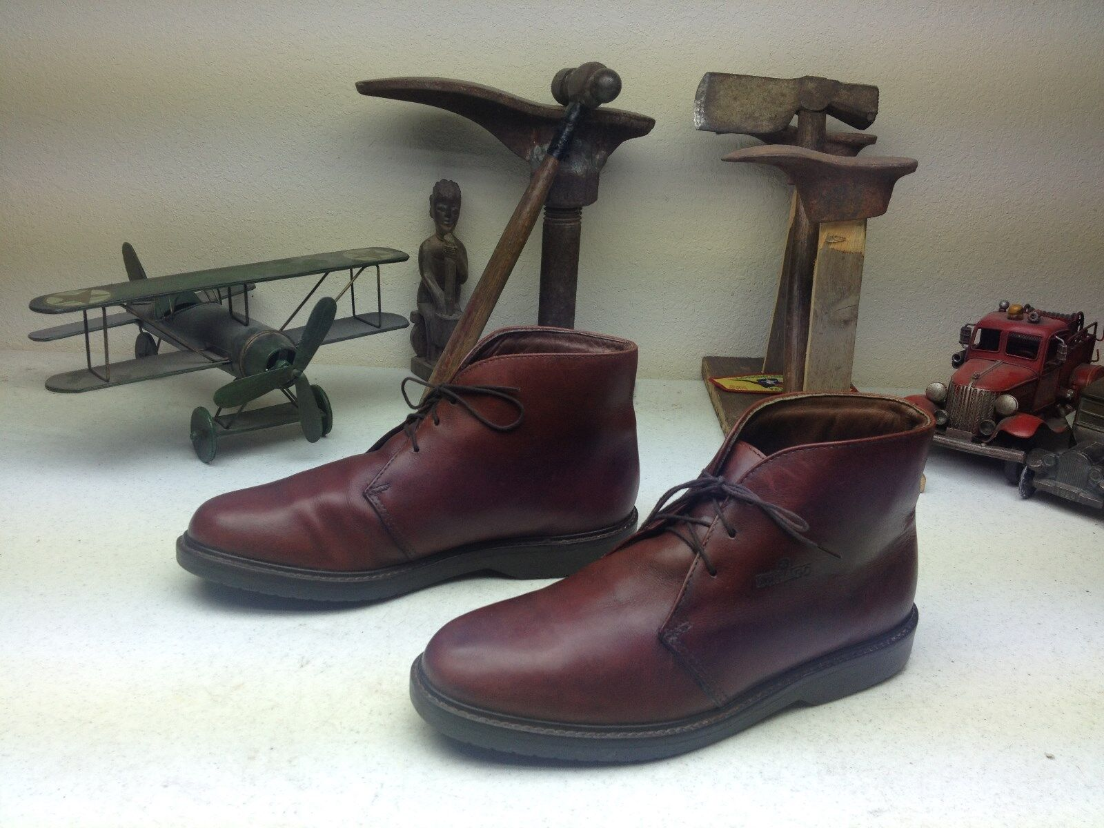 MADE IN USA SEBAGO OXBLOOD LEATHER MOTORCYCLE ENGINEER CHUKKA TRAIL BOOTS 8.5 M