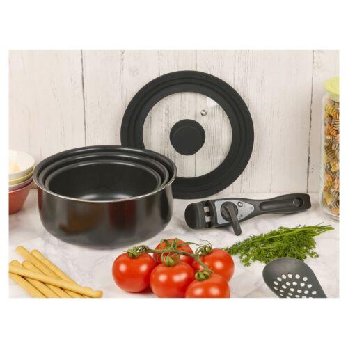 3 Teile Schwarze Keramik Induktion Kochgeschirr Sets Stapelbar Abnehmbare Griff