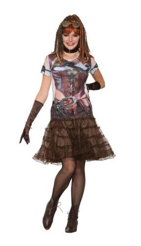 Ladies Fancy Dress Steampunk Gal 3D Printed T-Shirt Top Instant Costume X77169
