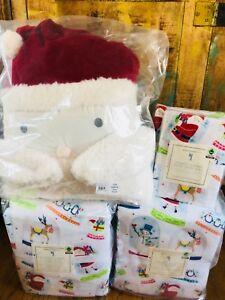 Pottery-Barn-Kids-Santa-FULL-QUEEN-Duvet-Sheet-Set-Shams-Pillow-Christmas-Globe