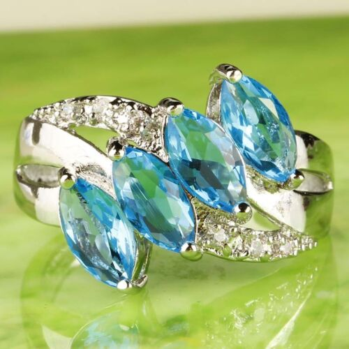 Marquise Cut Blue /& White Topaz Gemstone Silver Ring Size 6 7 8 9 10 11 Charming
