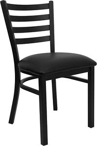 Black Ladder Back Metal Restaurant Chair Black Vinyl Seat Model # BK-MTL-LAD