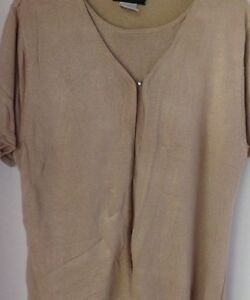 8e4d587981 Sag Harbor short sleeve mock 2 piece sweater-Tan-Women s size X ...