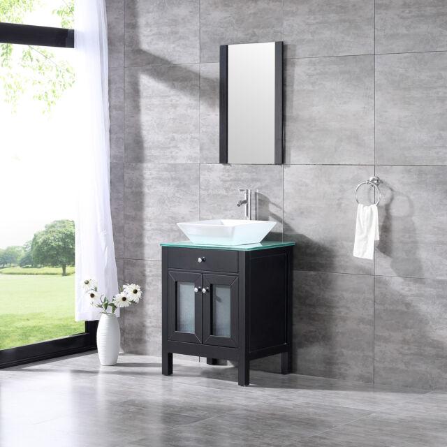 Bathroom 24 Vanity Single Cabinet Basin Ceramic Sink With Faucet W Mirror Set