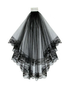 2-TIER-BLACK-BRIDAL-WEDDING-VEIL-WITH-LACE-EDGES-COMB-31-034-BRAND-NEW