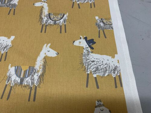 Allie Alpaca Fun Cotton Yellow //white140cm wide Curtain//Craft Fabric