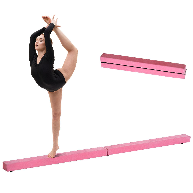 HOMCOM 8FT Gymnastics Folding Balance Beam 2.4M Home Training Hard Wearing Pink