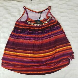 Cupio-Womens-Size-XL-Tank-Top-Beaded-Tribal-Print-Purple-Orange-NWT