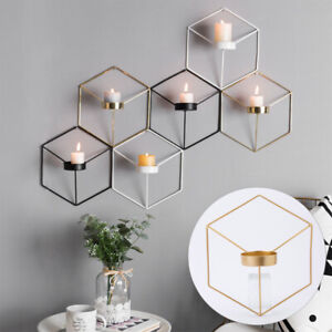 3D Geometric Candlestick Metal Wall Candle Hang Holder Nordic Style Home Decor E
