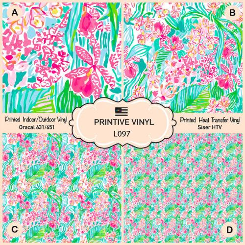 Lilly P inspirado Orquídea patrón impreso inauguración Vinilo Adhesivo Vinilo-L097