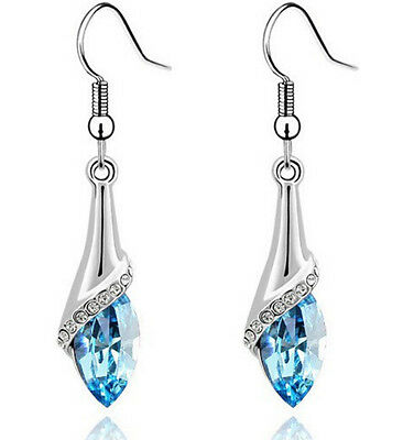 P Style 18K White Gold Plated Swarovski Crystal Drop Dangle Earring Hook Jewelry