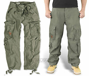 SURPLUS-AIRBORNE-TROUSERS-OLIVE-GREEN-RAW-VINTAGE-CARGO-COMBAT-PANTS-ARMY-URBAN