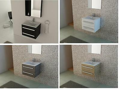 Bathroom 600 mm Wall Hung Vanity Unit  Ceramic sink, oak, white, black