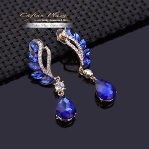 Brautschmuck-Hochzeit-Ohrringe-Ohrhaenger-XL-Gold-Royal-Blau-Kristall-Klar-Luxury