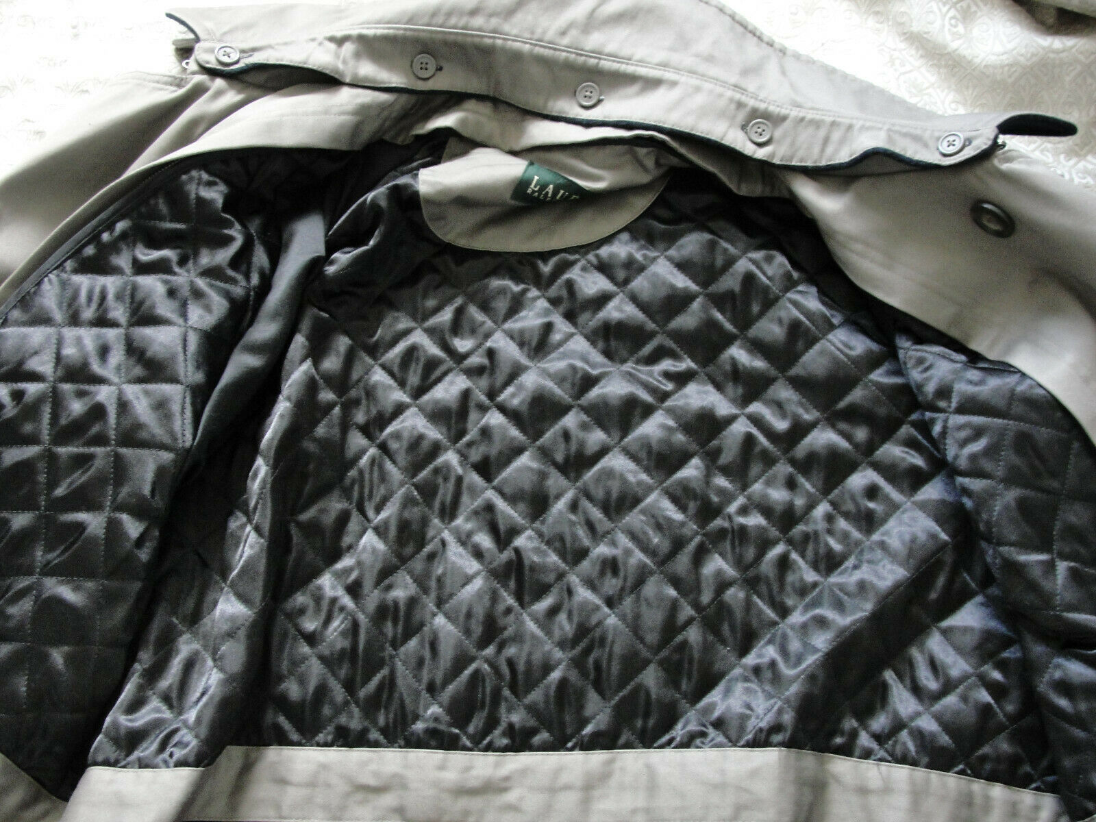 Ralph Lauren Trench coat Olive green Lined Size 4… - image 8
