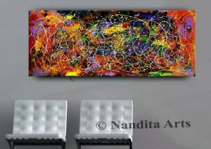 Abstract-Red-Jackson-Pollock-Inspired-Art-Painting-on-Canvas-Original-by-Nandita