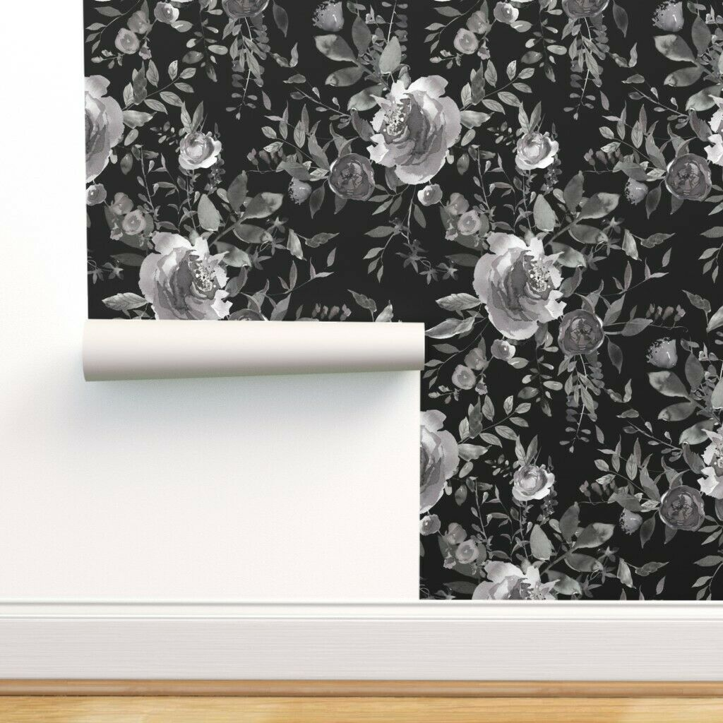 4 X Debona Black Floral Wallpaper Cream Grey Flowers Slight