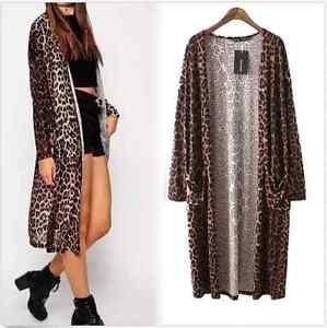 3f9a6954c Leopard Print Double Pocket Long Cardigan Top Blouse Coat S M L Hot ...