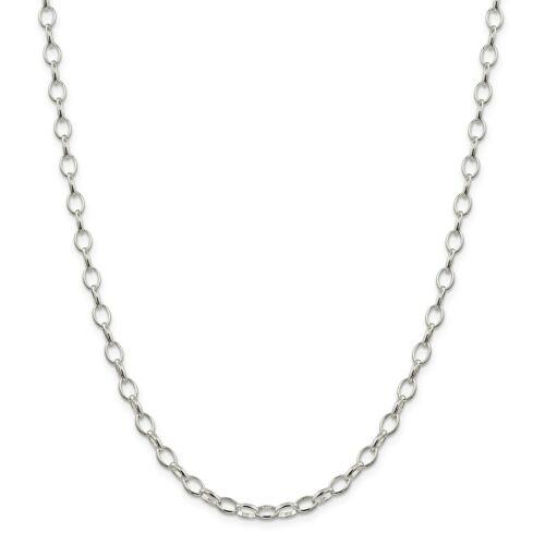"24/"" Sterling Silver 5 mm solide plaine ouverte Rolo Link Chaîne Avec Homard Fermoir 16/"""