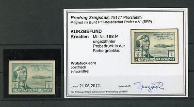 Systematisch Kroatien Nr.108 Pu ** Grünblau Farbprobe Befund Zrinjscak Bpp !!! Dauerhafter Service 132772