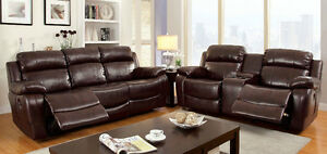 3 Pc Large Padded Arms Dark Brown Bonded Leather Motion Sofa Transitional Set