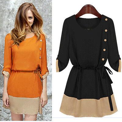 HOT Autumn Women Casual Chiffon Skirt Long Sleeve Adjustable Waist Mini Dress