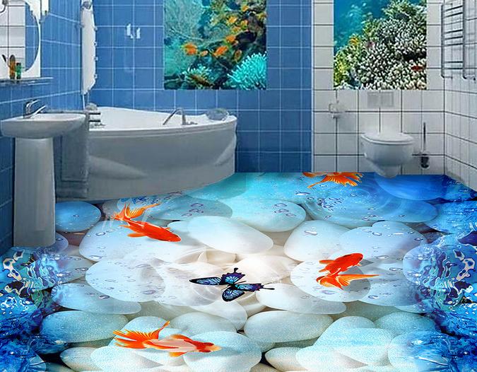 3D Butterfly Goldfish 4 Floor WallPaper Murals Wall Print Decal AJ WALLPAPER