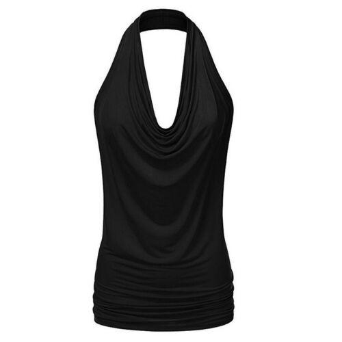 Damen Neckholder Tops Tanktop Rückenfrei Bluse Trägertop Weste Shirts Tee Mode P