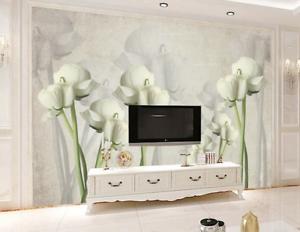 3D White Art Flowers 7 Wall Paper Murals Wall Print Wall Wallpaper Mural AU Kyra