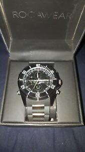 Rocawear Rm3004bk Mens All Black Hybrid Watch 50mm Bnib Silicone