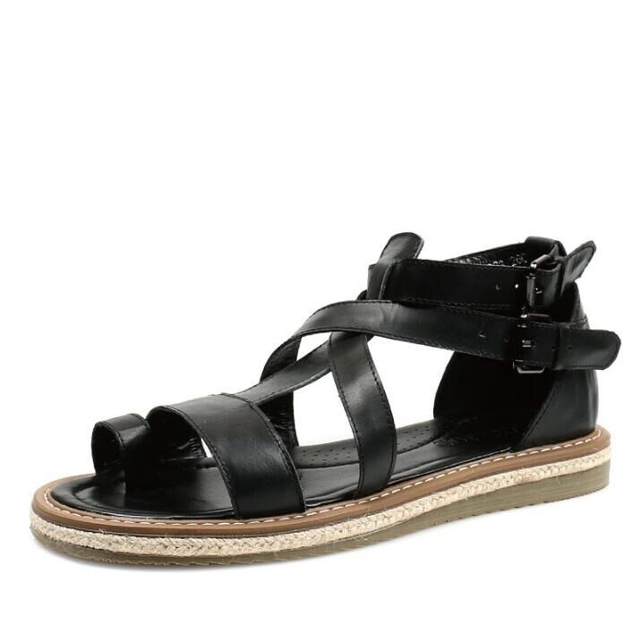 Gladiator Roman Mens Flats Strappy Sandals Flats Mens Buckle Strap Leather Casual NEW Shoes 200a39