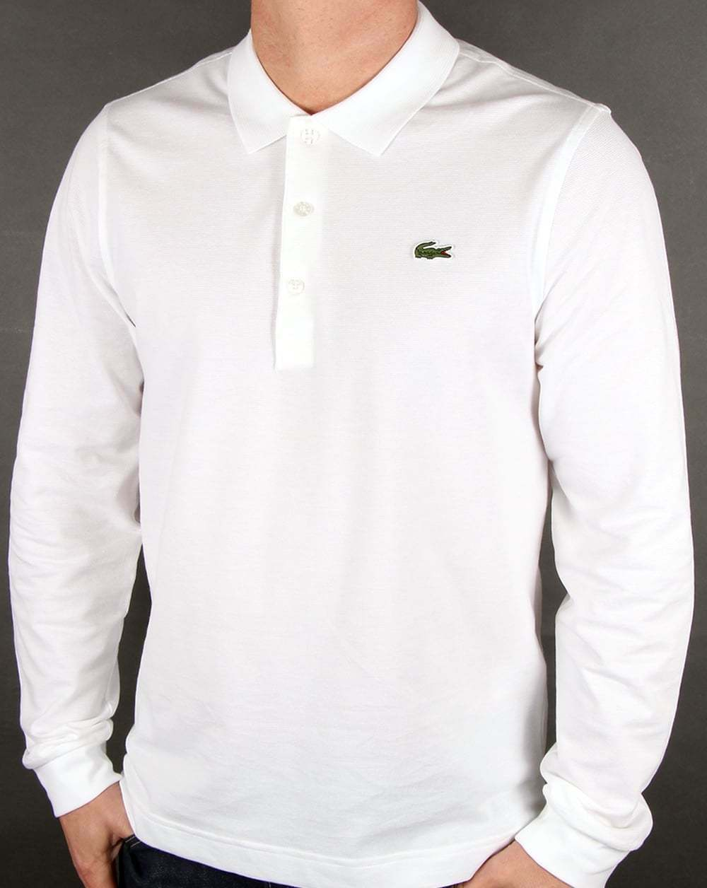 Lacoste Long Sleeve Polo Shirt in White - ultra lightweight cotton