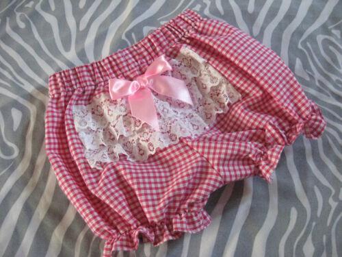 Nouveau bébé fille noir blanc carreaux roses dentelle Frilly Knickers Pantalon bouffantes gothique
