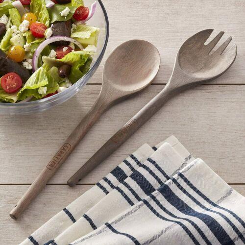 12 Inch Sabatier Rustic Beechwood Fork and Spoon Salad Server Set Natural