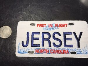 New Large embroidered  JERSEY North Carolina Vanity License Plate Patch