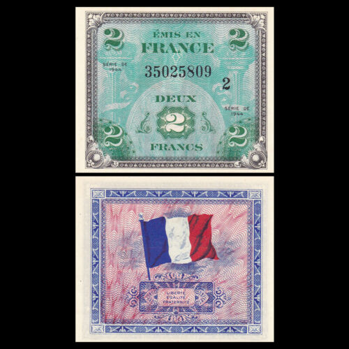 P-114b UNC Banknotes 1944 France 2 France