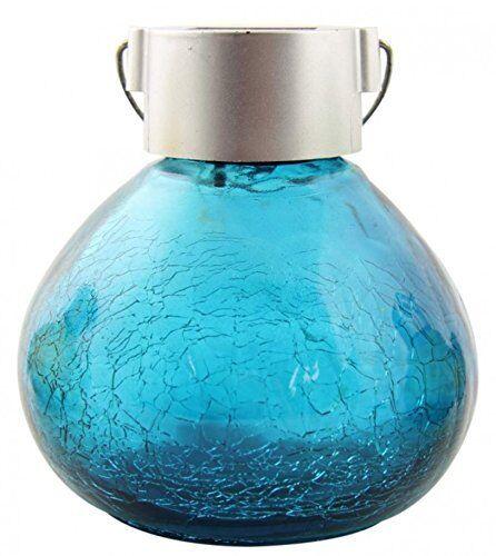 BLUE CRACKLE GLASS SOLAR FAIRY JAR