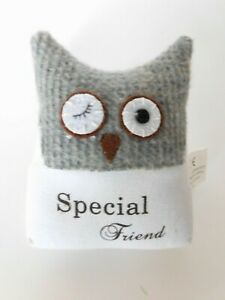Dekoration-Eule-Special-friend-in-Grau-14-cm