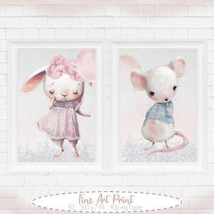 Maedchen-Kinderzimmer-Tier-Poster-Bilder-Babyzimmer-Deko-Kinderbilder-A4-A3-58