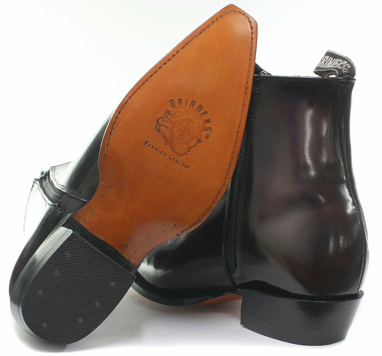 Men's Leather Grinders Austin Burgundy Cowboy Western Ankle Zip Block Heel Boots