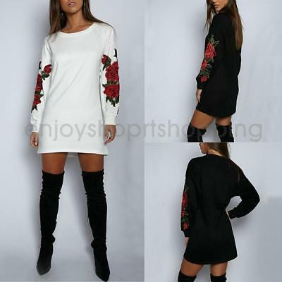 Women Long Sleeve Casual A-Line Mini Party Dress Rose Embroidery Long Top Blouse