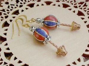 Hot-Air-Balloon-Earrings-Cloisonne-Whimsical-Topiary-Tree-Art-to-Wear-Jewelry