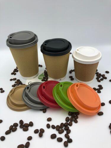 KRAFT Ripple ROUND Disposable Cups COFFEE 8oz 12oz 16oz x 100 LIDS Hot Drinks