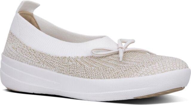 cc3af91707f FitFlop™ ÜBERKNIT™ Ladies Womens Slip On Ballerina Pump Flats Shoes Gold  White