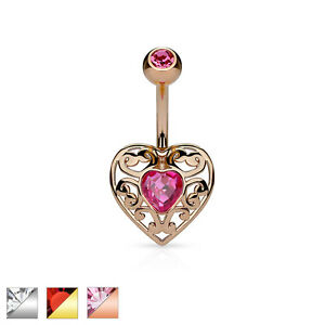 Image Is Loading Surgical Steel Filigree Heart Belly Bar Navel Ring