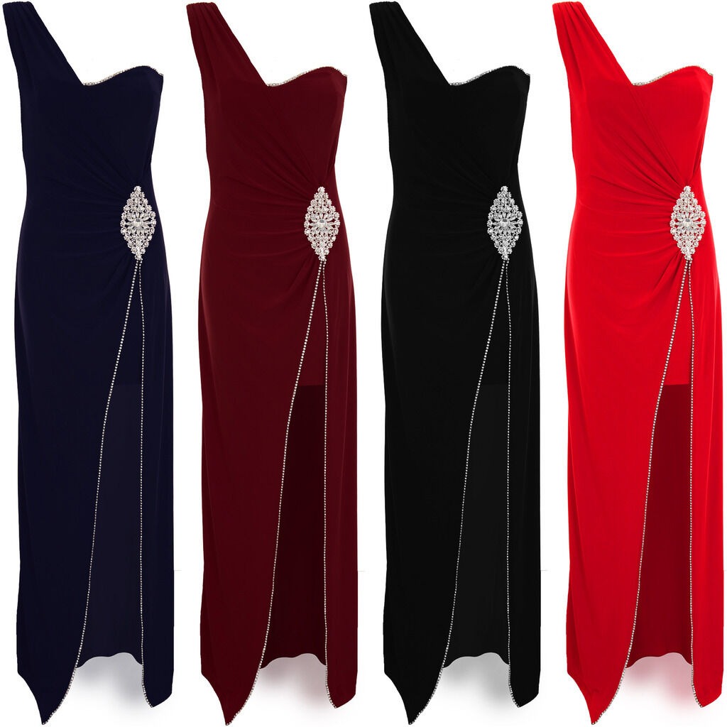 Womens One Shoulder Padded Diamante Trim Waist Side Split Bodycon Maxi Dress