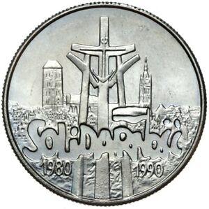 Gedenkmuenze-Polen-10000-Zlotych-1990-SOLIDARNOSC-Stempelglanz-UNC