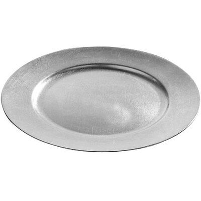 Brand NEW Set Of 6 33cm Decorative Charger Dinner Under Plates - Silver